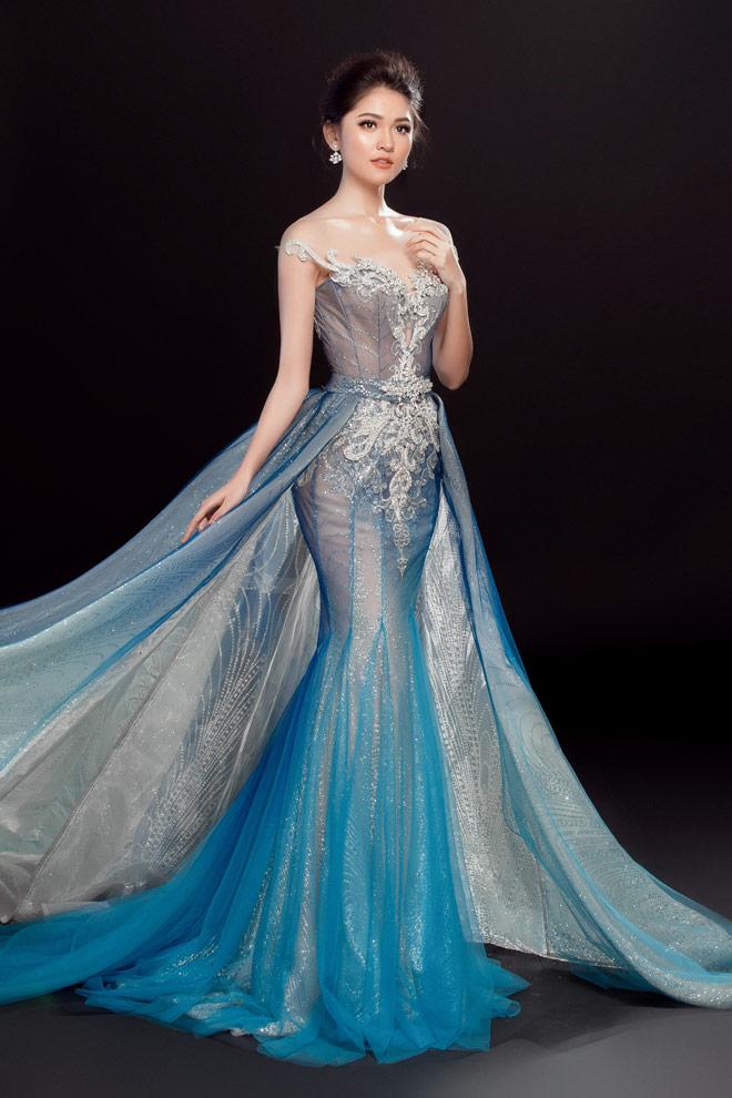 """Lộ váy dạ hội """"đụng hàng"""" Huyền My của Thùy Dung tại HH Quốc tế - 3"""