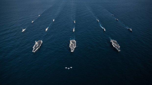 3 tàu sân bay Mỹ tập trận, Triều Tiên dọa chiến tranh hạt nhân - 2