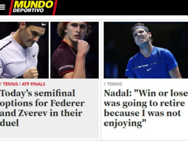 """Nadal chia tay ATP Finals: Báo chí """"cược tất tay"""" cho Federer"""
