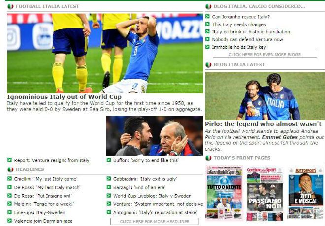 """Italia lỡ hẹn World Cup 2018: Báo chí thế giới coi là """"nỗi nhục thế kỉ"""" - 3"""