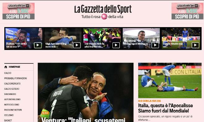 """Italia lỡ hẹn World Cup 2018: Báo chí thế giới coi là """"nỗi nhục thế kỉ"""" - 2"""