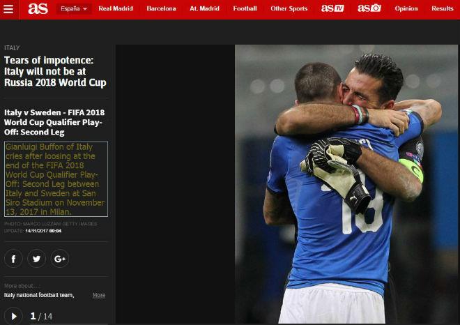 """Italia lỡ hẹn World Cup 2018: Báo chí thế giới coi là """"nỗi nhục thế kỉ"""" - 1"""