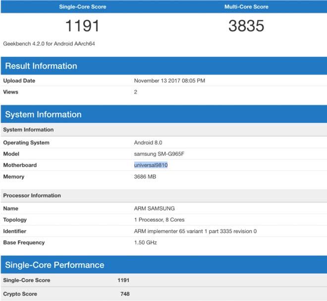 Samsung Galaxy S9 Plus bất ngờ xuất hiện trên Geekbench - 1