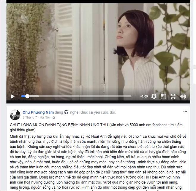 """Tác giả MV """"Khúc ca yêu cuộc đời"""" hỗ trợ cộng đồng bệnh nhân ung thư - 1"""