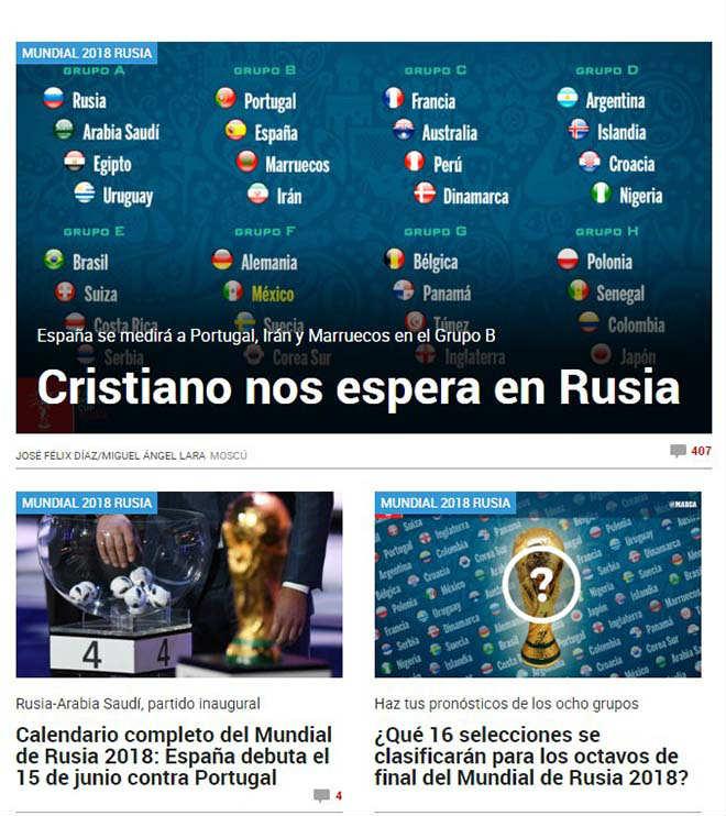 Bốc thăm World Cup: Báo Tây Ban Nha sợ Ronaldo, truyền thông Anh ngại Brazil - 2