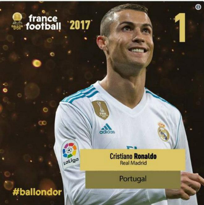 """Quả bóng Vàng 2017: """"Siêu nhân"""" Ronaldo và ngôi sao 5 cánh lấp lánh - 2"""