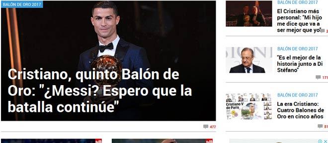 """Báo chí thế giới """"quỳ rạp"""" trước Ronaldo 5 Quả bóng Vàng - 2"""