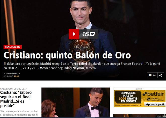 """Báo chí thế giới """"quỳ rạp"""" trước Ronaldo 5 Quả bóng Vàng - 3"""