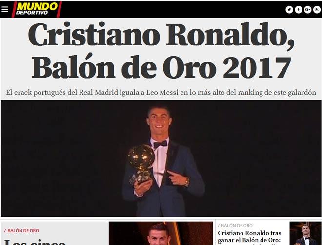 """Báo chí thế giới """"quỳ rạp"""" trước Ronaldo 5 Quả bóng Vàng - 7"""