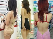 """Gái châu Á mặc váy ngắn cũn đi siêu thị khiến anh em  """" khóc thét """""""