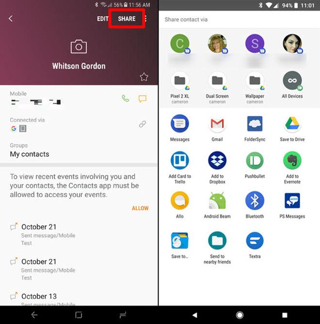 Cách chia sẻ danh bạ qua tin nhắn SMS trên Android - 3