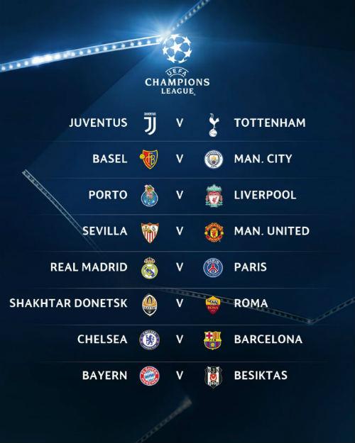 Bốc thăm vòng 1/8 cúp C1: MU gặp may, Real gặp PSG, Chelsea tử chiến Barca - 1