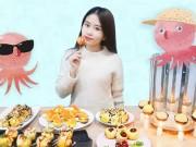 Thánh nữ ham ăn làm bánh hải sản siêu độc bằng muôi và nến