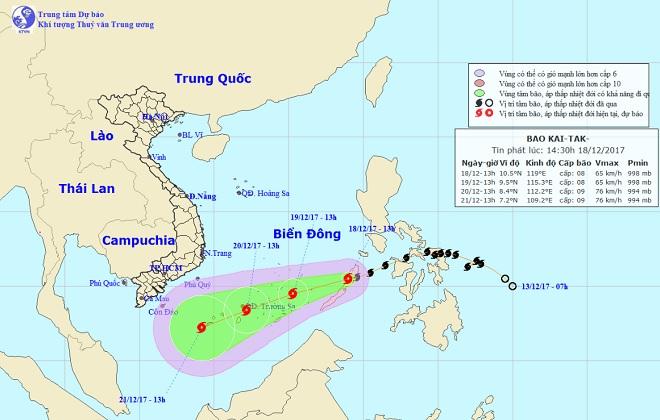 Bão Kai-tak chính thức vào Biển Đông, trở thành cơn bão số 15 trong năm 2017 - 1