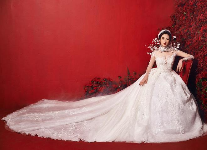 """""""Bạn gái Noo Phước Thịnh"""" mặc váy cưới 3 tỷ đồng - 2"""