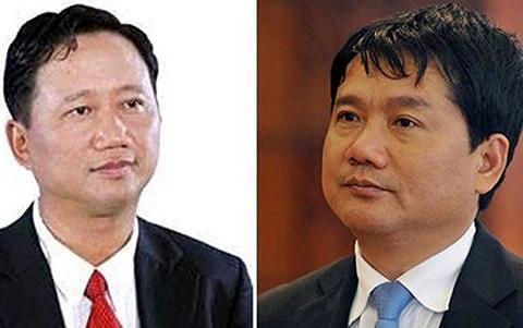 Hai bị can Trịnh Xuân Thanh và Đinh La Thăng.