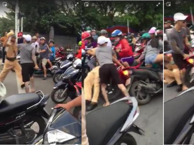 Thanh niên xăm trổ rút dao tấn công CSGT Nha Trang
