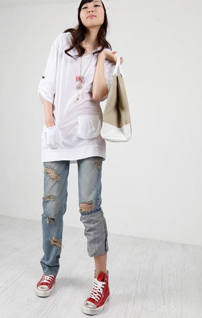 Tiết Thu: Jeans rách gối thịnh hành! - 12