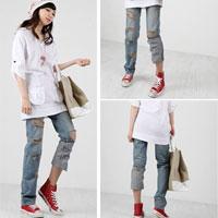 Tiết Thu: Jeans rách gối thịnh hành!