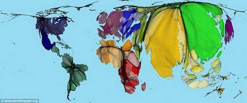 Bản đồ thế giới nhìn theo... dân số - 1