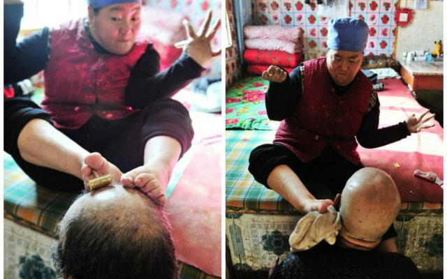 Ảnh đẹp: Người phụ nữ khuyết tật chăm chồng bằng chân