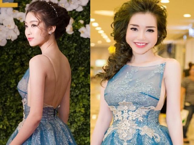 """Elly Trần - HH Mỹ Linh """"đụng hàng"""" yếm cách tân, ai sexy hơn?"""