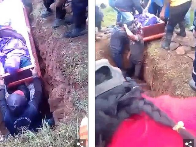 Đang đặt quan tài xuống mộ, sự cố bất ngờ xảy ra