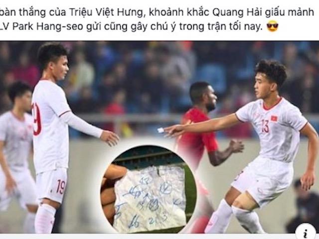 Dân mạng bàn tán xôn xao mảnh giấy thầy Park tuồn vào sân cho Quang Hải
