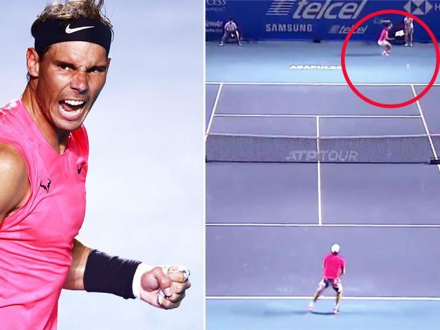 """Nadal dùng """"lăng ba vi bộ"""" chạy ngang sân đánh dọc dây ăn điểm siêu tưởng"""