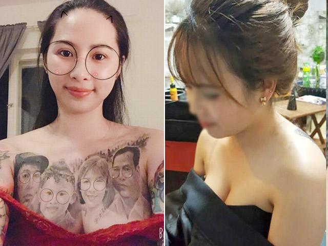 Xăm cả gia đình lên ngực và loạt hình xăm táo bạo của gái Việt