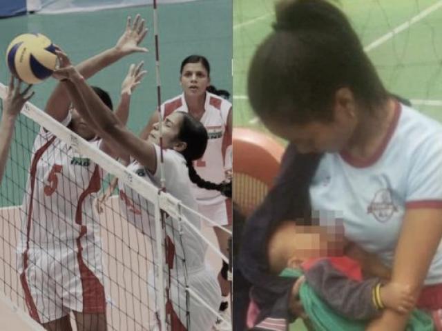 Nữ VĐV bóng chuyền đang đấu vào kéo áo cho con bú gây sốt mạng xã hội