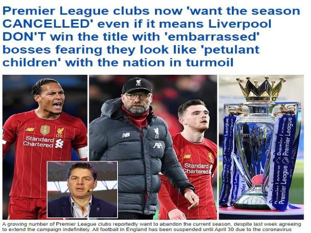 Biến căng Ngoại hạng Anh: Nhiều CLB đòi hủy kết quả, Liverpool lo sợ