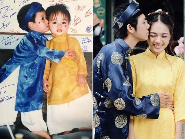 """""""Đặt gạch"""" nụ hôn từ năm 3 tuổi, 23 năm sau chàng trai cưới được vợ xinh như hoa"""