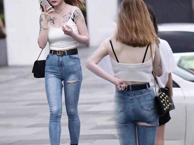 Cô gái mặc quần rách đúng vòng 3, xuề xòa với kiểu mặc nổi trên phố vì kém duyên