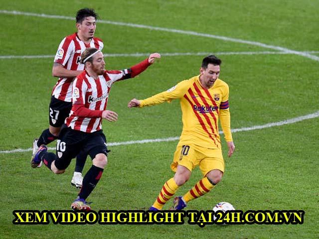 Video Athletic Bilbao - Barcelona: Messi lập cú đúp, rượt đuổi 5 bàn thắng