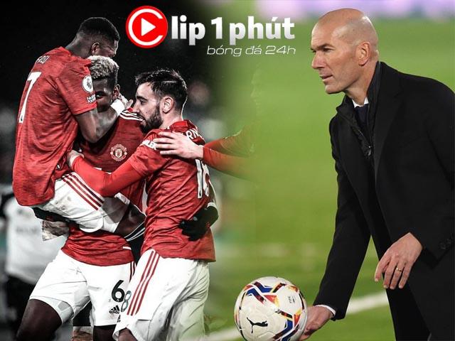 """MU số 1 Ngoại hạng Anh nhờ kỳ tích ngược dòng, Zidane """"ngồi trên lửa"""" ở Real (Clip 1 phút bóng đá 24H)"""