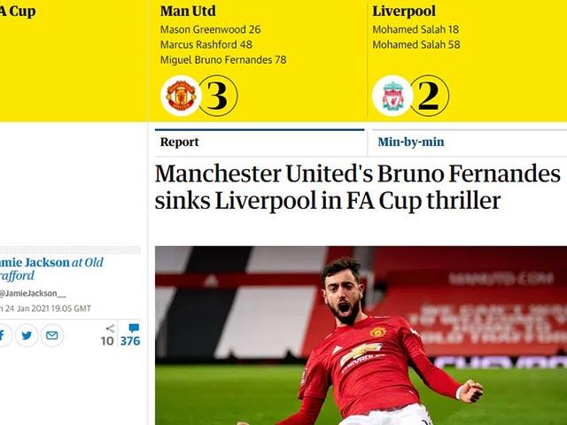 Bruno Fernandes tỏa sáng đưa MU hạ Liverpool, báo Anh vẫn không khen xuất sắc nhất