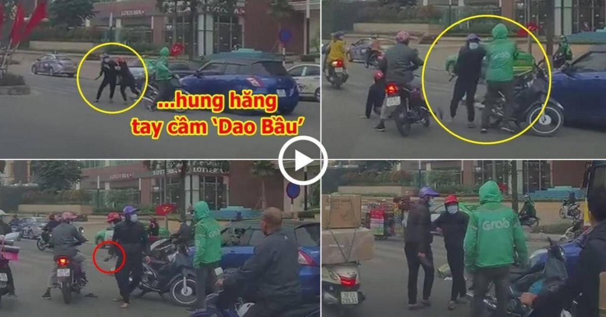 Nam thanh niên cầm dao bầu lao vào tài xế GrabBike sau va chạm giao thông