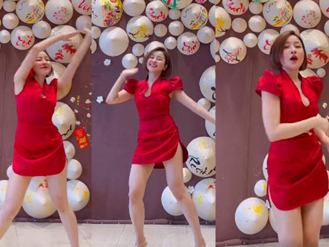 """""""Thót tim"""" vì Trâm Anh diện xường xám xẻ cao hút, nhảy cực """"sung"""" chào năm mới"""