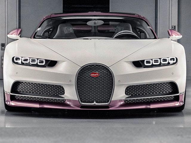 Siêu xe Bugatti Chiron màu trắng hồng độc nhất vô nhị