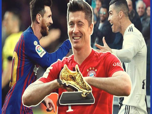 """Lewandowski """"vô đối"""" Giày vàng châu Âu, Messi - Ronaldo không có cửa"""