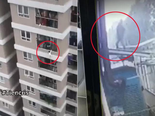 Clip: Nam tài xế chở hàng nhanh tay đỡ được bé gái 3 tuổi rơi từ tầng 13 chung cư
