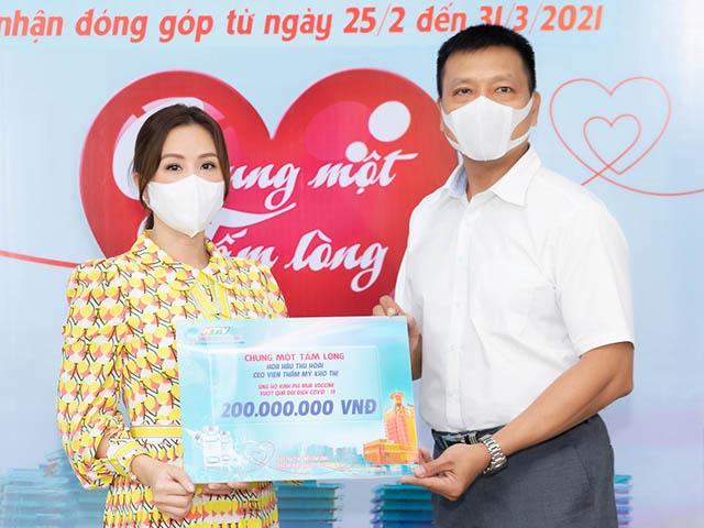 Hoa hậu Thu Hoài ủng hộ 200 triệu mua vắc xin ngừa Covid-19