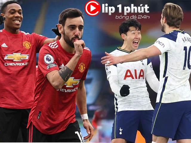 """MU hạ Man City có tất tay đua vô địch, Tottenham ghi 100 bàn cực """"khủng"""" (Clip 1 phút bóng đá 24H)"""