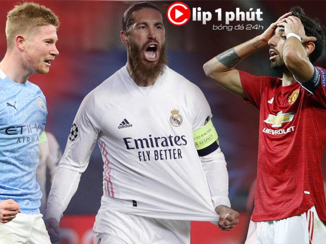 """Real - Man City vào tứ kết Cúp C1 vẫn run, MU - Fernandes lo """"virus FIFA"""" (Clip 1 phút Bóng đá 24H)"""