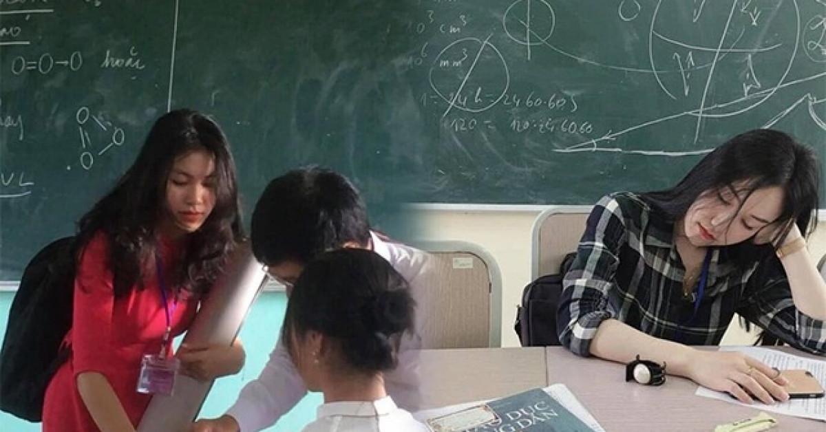 """4 cô giáo thực tập """"nổi như cồn"""" bị chụp lén: Trẻ như học sinh, ngủ gật vẫn thần thái"""