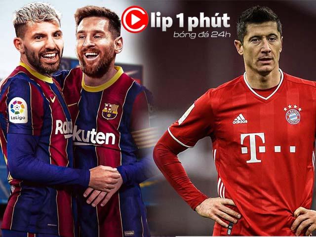 """Barca """"nóng"""" vì Aguero, Lewandowski lo Ronaldo - Messi giành Giày vàng châu Âu (Clip 1 phút Bóng đá 24H)"""