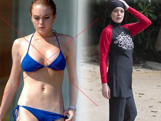 U30 Lindsay Lohan già như 50 vì mặc bikini người Hồi