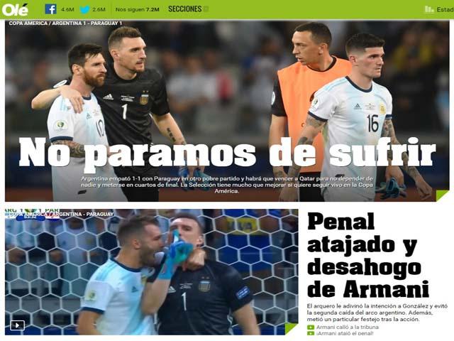 Argentina lâm nguy Copa America: Báo chí thất vọng Messi, lo thảm họa Qatar