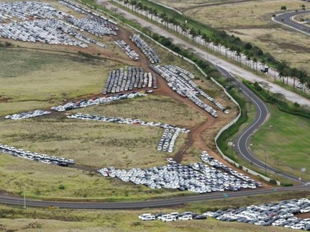 """Hàng nghìn ô tô """"dãi nắng dầm mưa"""" giữa đồng khi khách ở nhà tránh dịch Covid-19"""